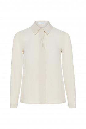 Шелковая блуза с планкой-твистом молочная