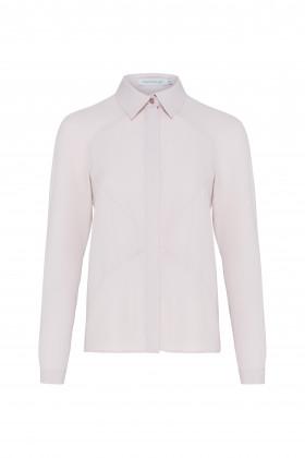Шелковая блуза с диагональными рельефами розовая