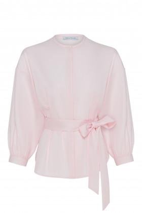 Объемная хлопковая блуза с поясом
