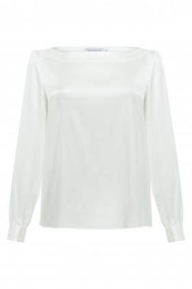 Атласная блуза белая