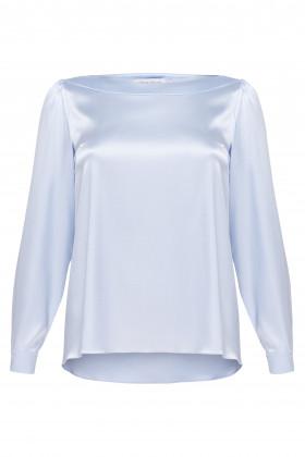 Атласная блуза голубая
