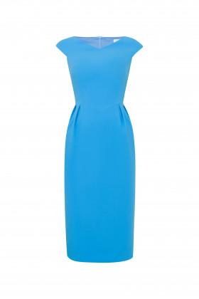 Платье-футляр с V-образным вырезом и коротким рукавом бирюзовое