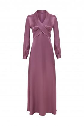 Вечернее платье с бантом лиловое