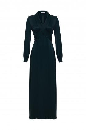 Вечернее платье с бантом темно-зеленое