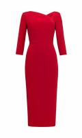 Платье-футляр с асимметричным вырезом красное