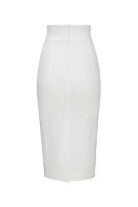 Юбка-карандаш с широким поясом белая